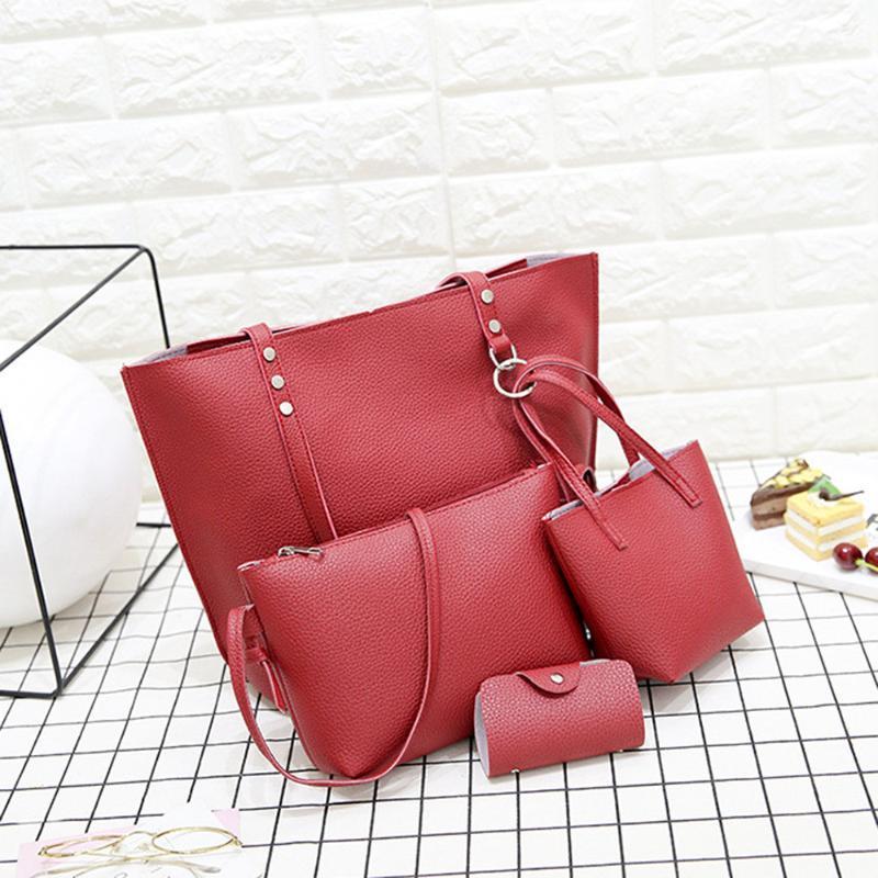 4pcs Women Pattern Leather Handbag+crossbody Bag+messenger Bag+card Package Solid Zipper Elegant Ladies Handbags Set Wallet