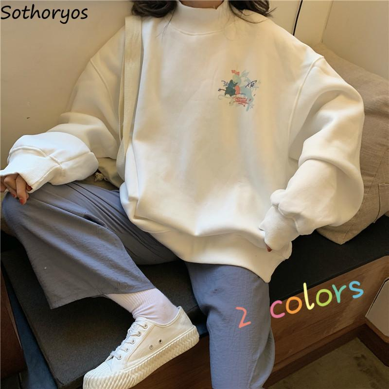 Hoodies impressos Coltrui Warm Plus Flores Oversize Kawaii Mulheres Simples Pulôver All-Match Estilo Coreano Casual Ulzzang