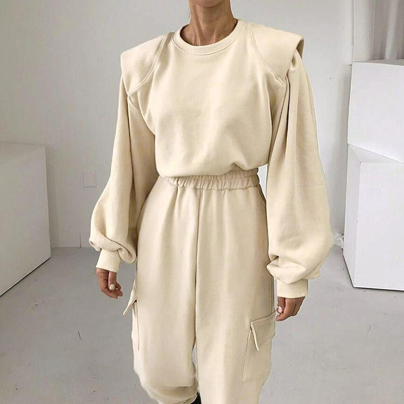 Outfits sólidos casuais Mulheres de corrida feminina Hoodies 2021 Solto Solto Sports Sportsuits Calças de Moda Streetwear Autumn New