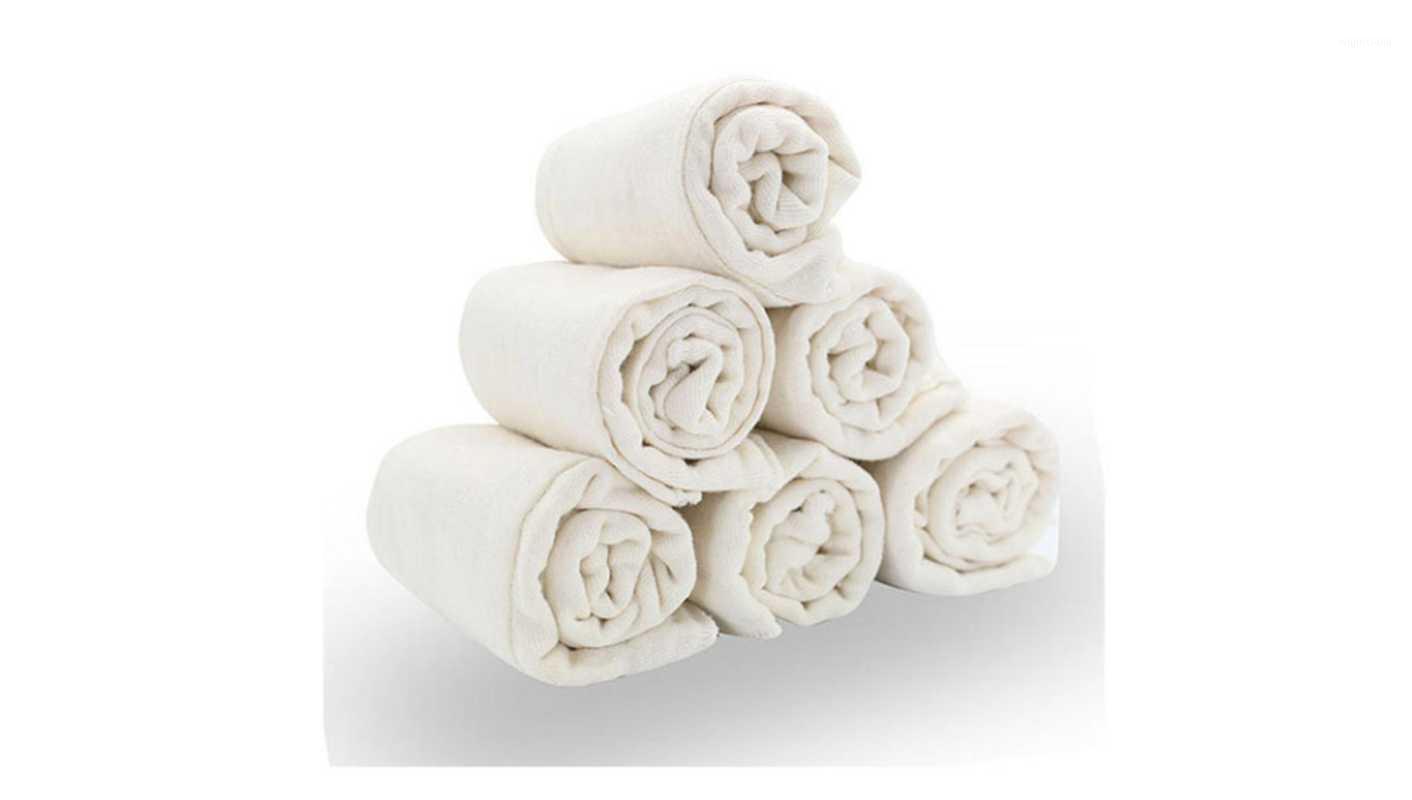 6pieces / lote 100% suave algodón sin blanqueo para suavidad y absorción rápida Pájaro prefoldado de bebé Pañal de pañales1