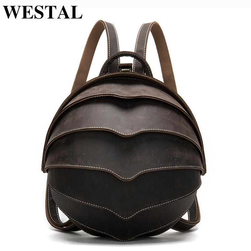 Mode Ball Sac à dos En Cuir Bagpack Femme Westal Petits sacs à dos pour Horse Femme Cuir Schoolbag pour filles Crazy Girls Bagpacks KJmop