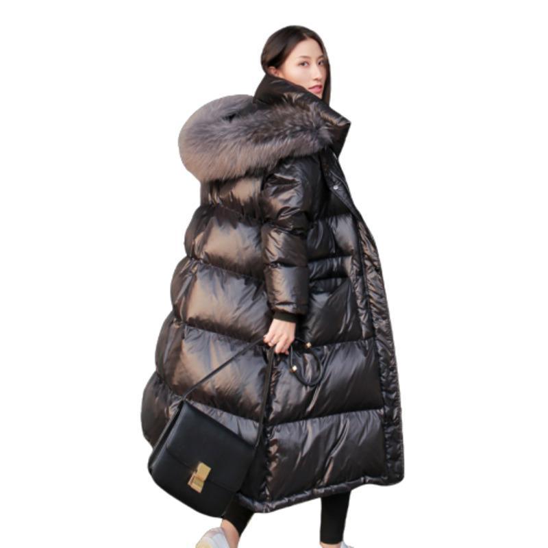 Черный длинный плюс размер белый overkee вниз по теплую зимнюю одежду Большая водолазка Mainstay Femme Hive Женские куртки Parka Qwal