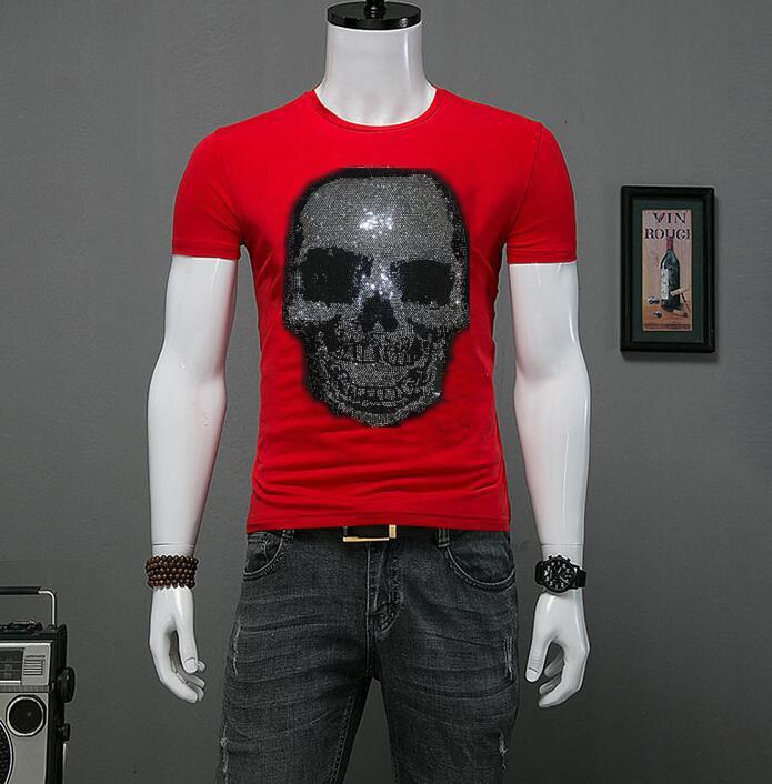 Yeni erkek Yaz Gömlek Rhinestone 3D Tasarımcı Boyun 2021 Moda Kısa T L9IH