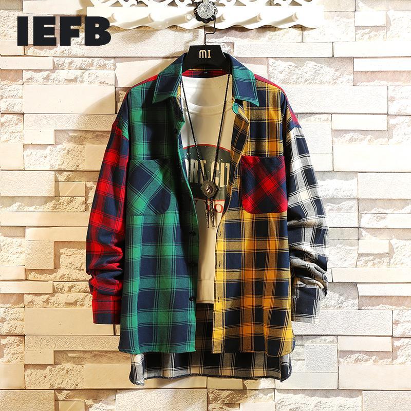 IEFB / Herbst Persönlichkeit Koreanischer Stil Trend der Farbe Matching Plaid Shirt Männer Casual Hip Hop Lose langärmliges Hemd 5XL 0023 C1210