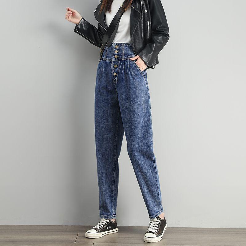 GUUZYUVIZ MUJER DE CINA alta para mujer Botones de mezclilla Pantalones Harem Harem Casual Vintage Vintage Jeans Pantalones Otoño Invierno Jean Femme