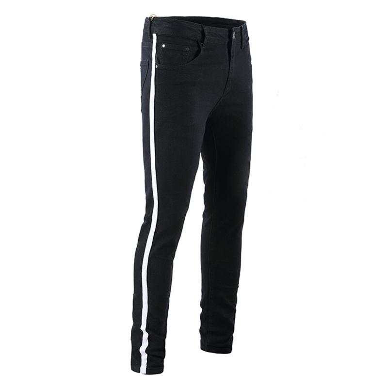 Herren Designer Loch Schwarze Skinny Jeans Grün Rot Band Stretch Herren Jeans Mode Trend Herren Denim Bleistift Hosen
