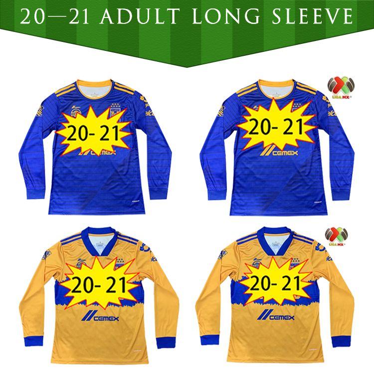 2020 2021 Uanl Tigres Gignac Futebol Jerseys Kits 20 21 Vargas Camiseta Maillot Home Fora Pizarro México Camisas de futebol manga comprida