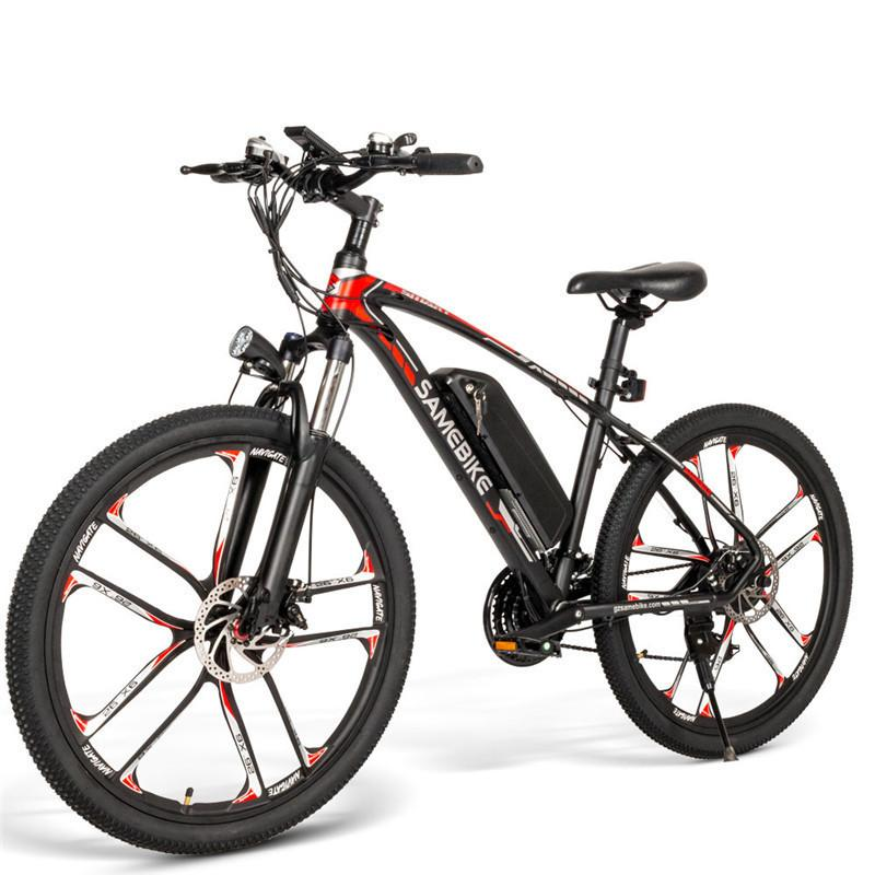 EU Stock SAMEBIKE MY-SM26 Electric Mountain Bike 350W 48V 21 Speed System Electric Bicycle For Adult Black White Color