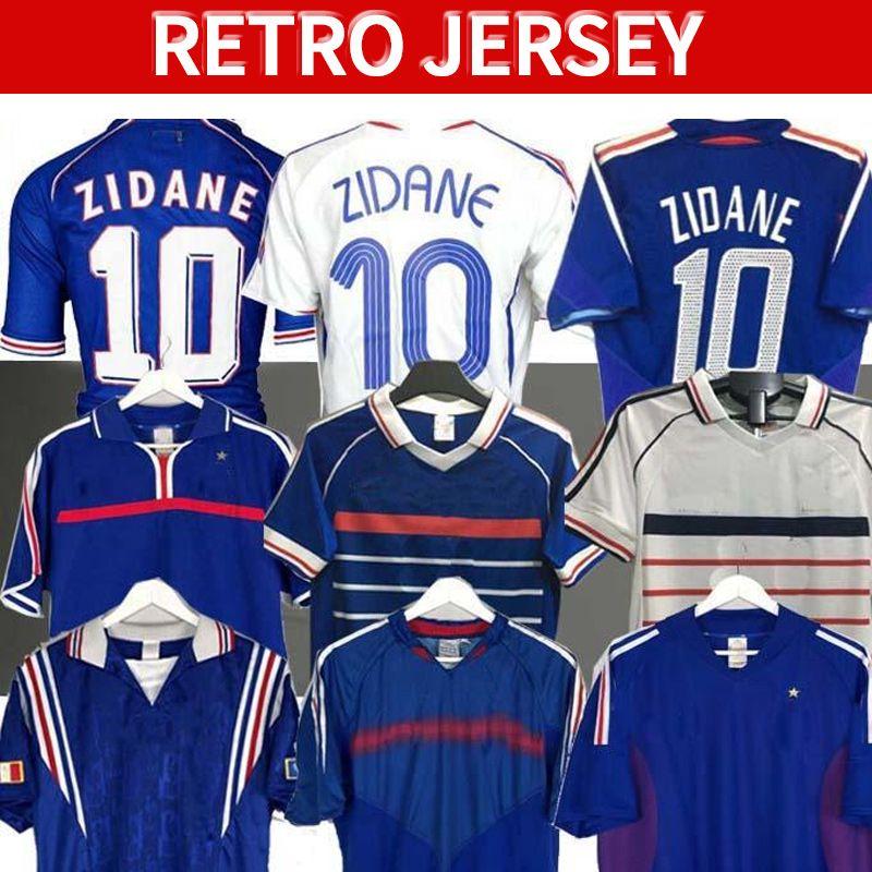 1998 Retro Franc Zidane Henry Soccer Jersey 96 98 02 04 06 Zidan Henry Maillot de Foocer Hemd 2000 Home Trezeguet Football Uniform