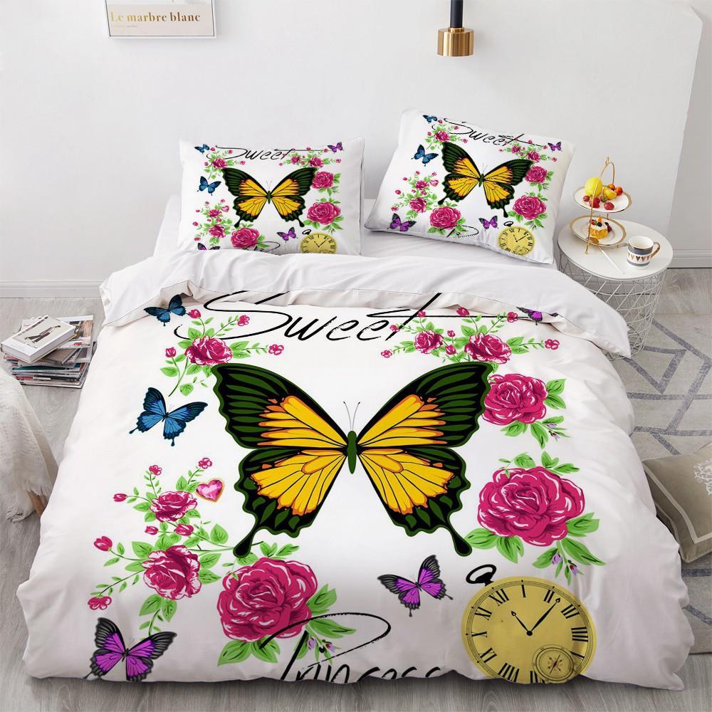 3D Luxus Tröster Fall Bettbettbezug Bettwäsche Set König Königin Doppelzimmer Einzel Größen Bunte Schmetterlings-Design Kundenspezifische Bettbezug