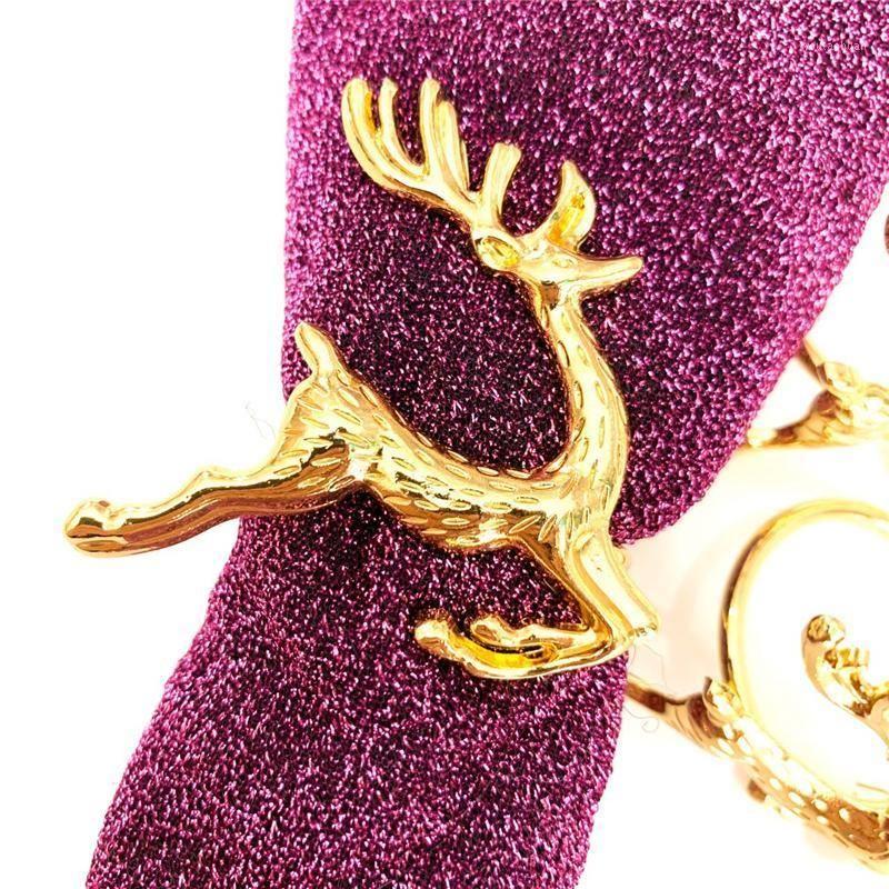 Anneaux de serviettes de serviettes IMUWEN 12 Morceau / Lot Porte-Table Anneau de table en métal Deer Christmas Noël Fournitures de banquet Dîner Serviette Serviette1