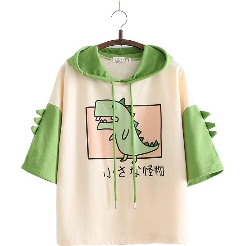 Mulheres Dinossauro Camisolas Com Chifres Estilo Doce Manga Curta Algodão Hoodies Meninas Capuz Verde Cópia Hooded Harajuku Pullovers Y200706