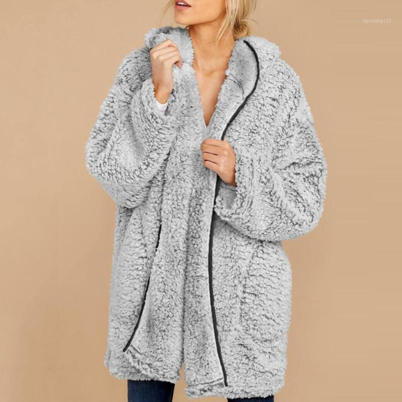 Mode manteau de fausse fourrure de mode Femme hiver doux Manteau Fuzzy 2020 Automne Veste Teddy Teddy Teddy Femme Cardigan Overcoat Outerwear1