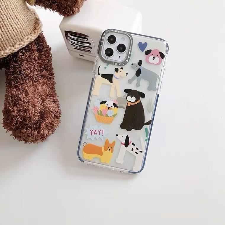 Net red cute dog cartoon creative color contrast mirror ring, soft rubber, air bag, frosted mobile phone case for iphone