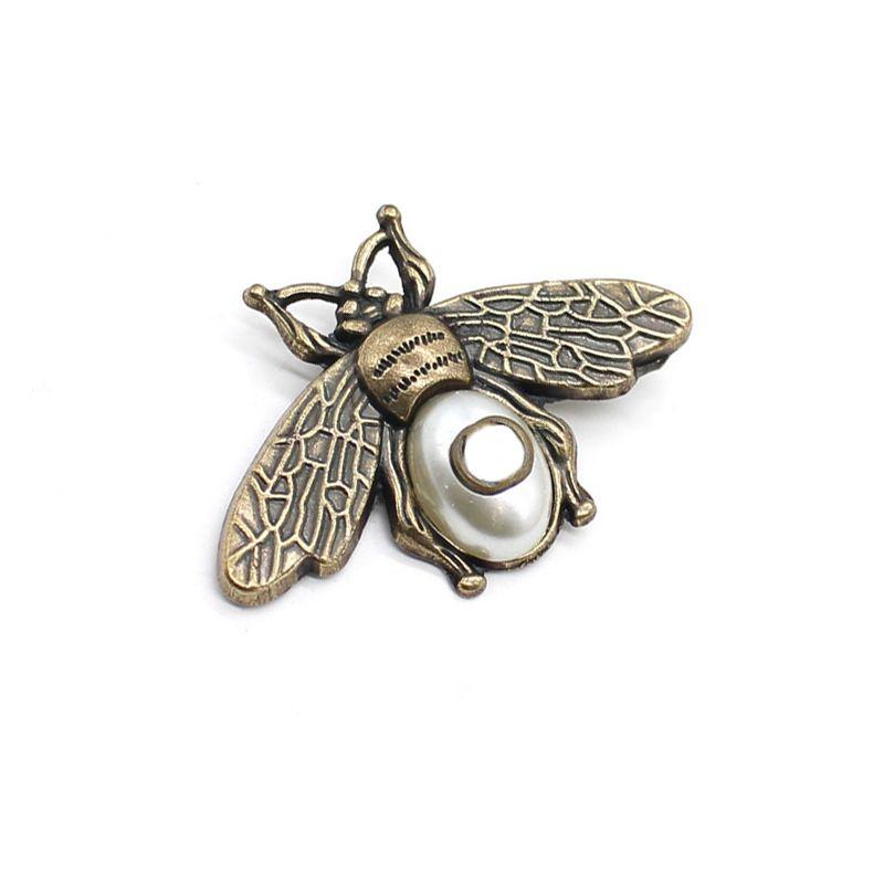 Damga ile Vintage Arı Broş Retro Inci Böcek Arılar Broşlar Takım Elbise Yaka Pin Moda Takı Aksesuarları