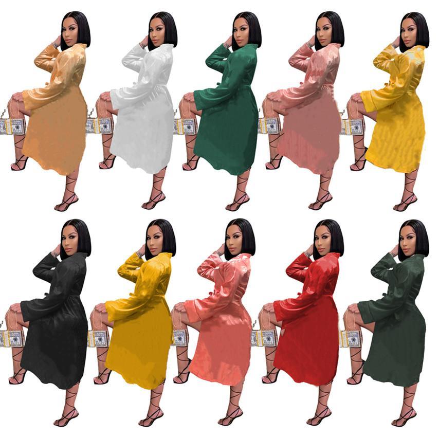 Women sleepwear nightwear long sleeve robe midi dresses fall winter clothing leisure wear outerwear S-2XL home dress nightgown DHL 4282