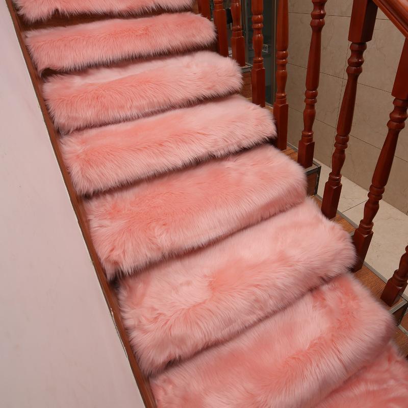 Мягкие лестницы ковер длинные плюшевые из искусственных шерстяных ковриков без скольжения прямоугольник лестничные коврики ступенчатые ковровые покрытия ковра