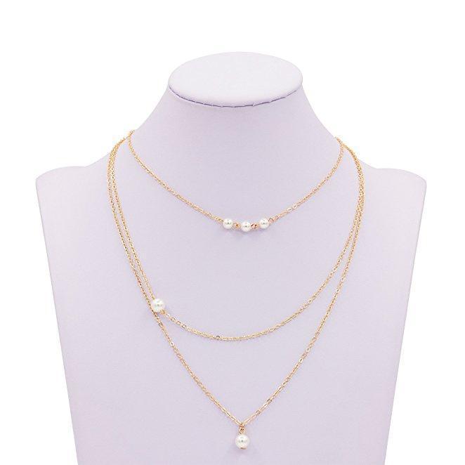 2020 neue Ankunfts-einzigartige Gold Farbe / Silber überzogene Ketten Dainty nachgemachte Perlen Anomale Layered Perlenkette für Frauen
