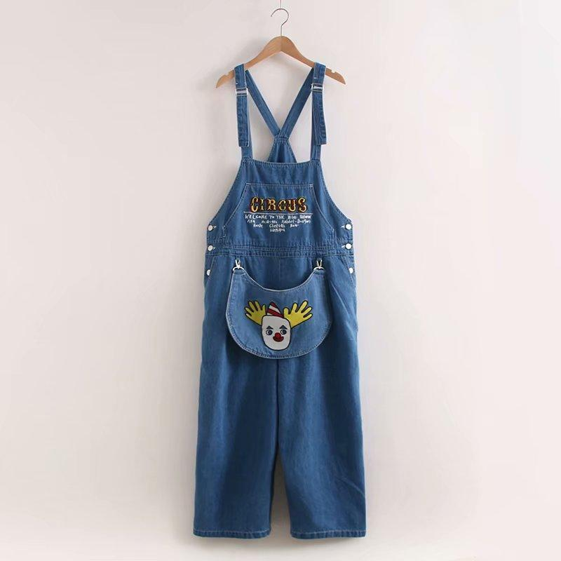Big Pocket High Waisted Jeans Embroidery Lady's Jeans Women Jumpsuit Korean Style Kawaii Casual Straight Pants1