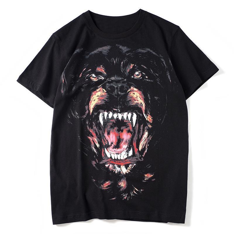 Мужские животные печати футболки черные мужские моды стилист лето высокое качество футболки верхний с коротким рукавом S-XXL