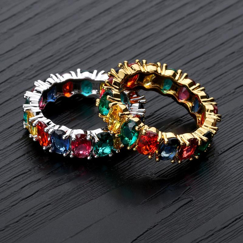 Ins zircão completo anel de hip-hop rainbow homens e mulheres trompete anel hiphop anel