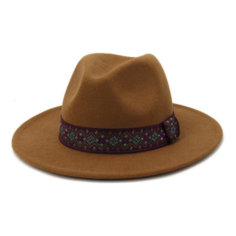 Kadın Şapka Geniş Ağız Katı Renk Bant Kemer Zarif Keçeli Şapka Fedora Vintage Lady Resmi Panama Düğün Kilisesi Kış Şapka Kadınlar