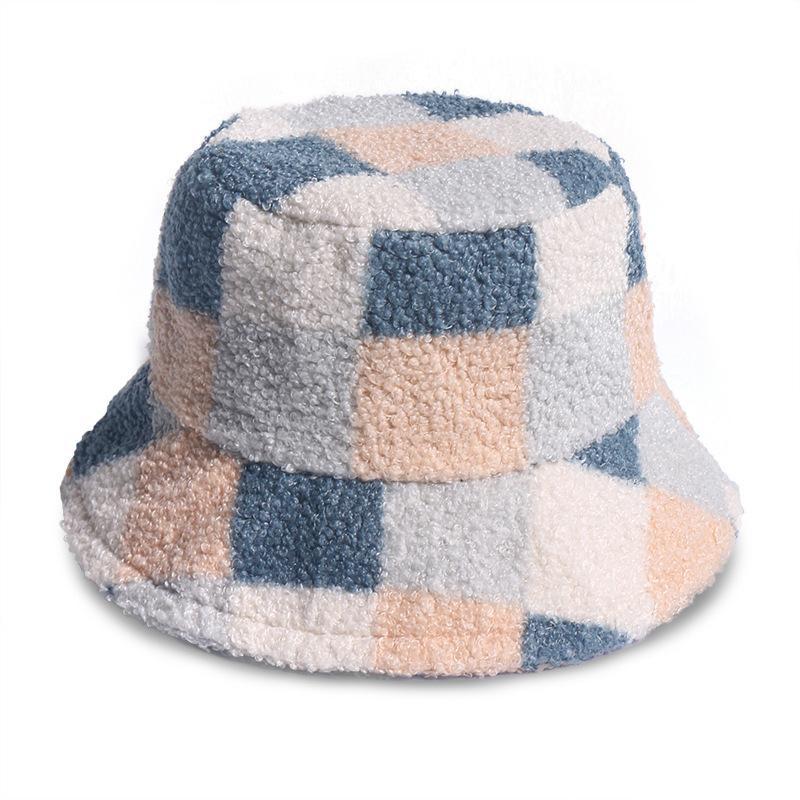 Giapponese agnello in velluto plaid cappello cappello donna autunno inverno inverno caldo pescatore cappelli ragazza ragazza rosa panama femmina peluche tappo del bacino