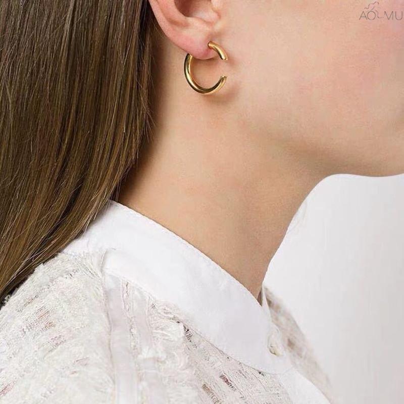 AOMU NOUVEAU DESIGN Creative Géométrique C Personnalité Connexion Simple Métal Goudouils pour femmes Filles Fashion Bijoux Cadeaux