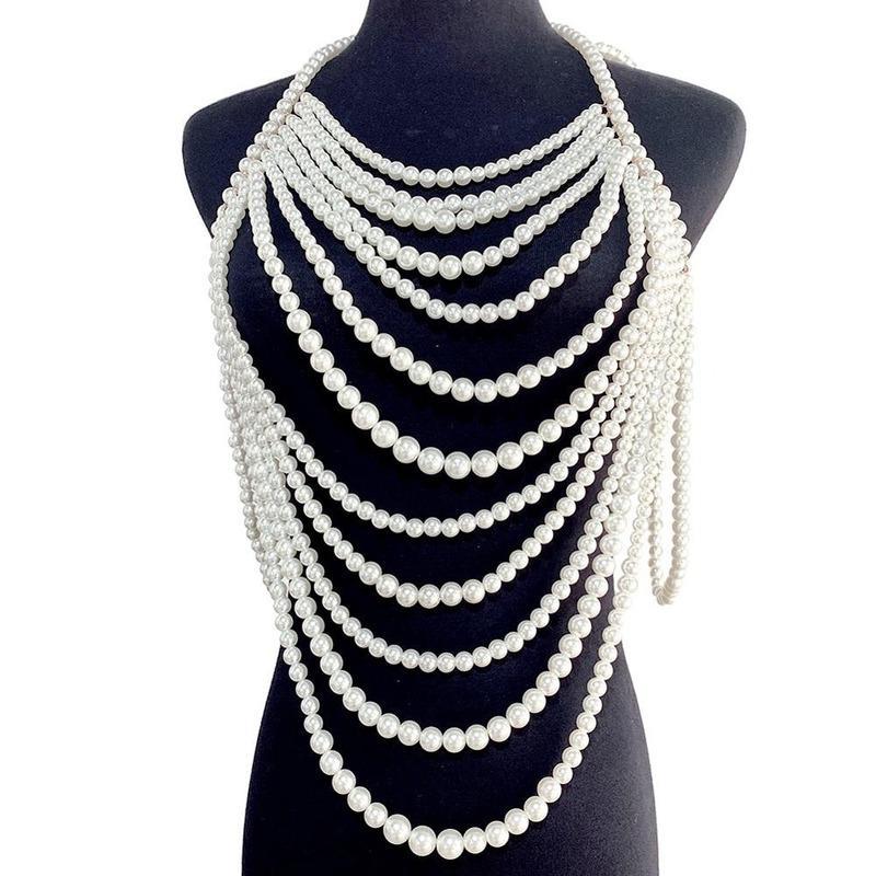 جديد العلامة التجارية تصميم فاخر فريد مقلد لؤلؤة سلاسل الجسم مجوهرات للنساء الزفاف هدية الزفاف بيان مجوهرات كبيرة