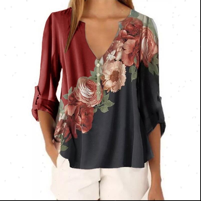 Vintage Blumengedruckte Chiffon Frauen Bluse Hemd 2021 Herbst Casual V-Ausschnitt Langarm Tops Damen Lose Große Größe Blusen