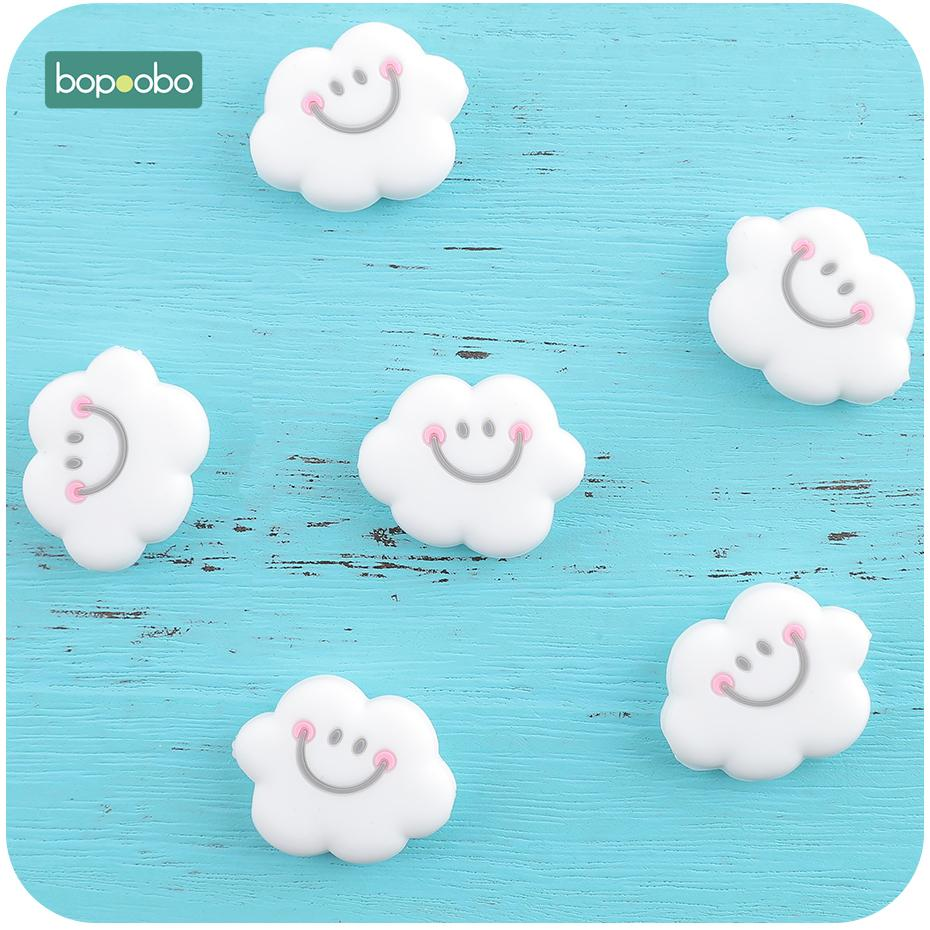 Bopoobo 20pc 0-12 Months BPA Free Silicone Tiny Rod Beads Silicone Pearl Cloud For Baby Rattle Toys Silicone Rodent Baby Teether 201124