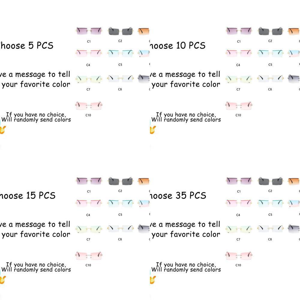 Commercio all'ingrosso moda rettangolo ormless occhiali da donna uomini trendy piccolo sole estate viaggio shades uv400 occhiali sfusi J1211