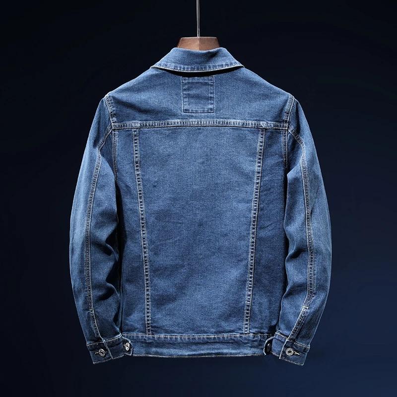 Marca Elasticity Denim Men's Blue 2021 Casual Moda Ropa Algodón Otoño Jeans Coat Chaqueta Nuevo Hombre Ogkfu