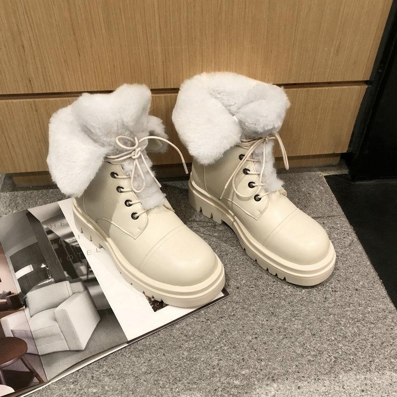 SKLFGXZY 2020 Yeni PU-deri Kar Botları Kadın Sıcak Yün Kış Çizmeler Kadın Ayakkabı Dantel Yukarı Moda Kalın Kürk Ayak Bileği