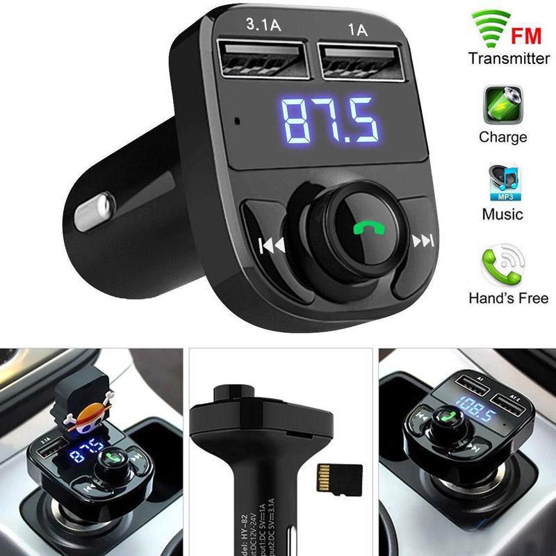 X8 FM الارسال aux modulator سيارة كيت بلوتوث يدوي سيارة استقبال السيارات استقبال مشغل mp3 مع 3.1a الشحن السريع المزدوج USB سيارة C مع المربع