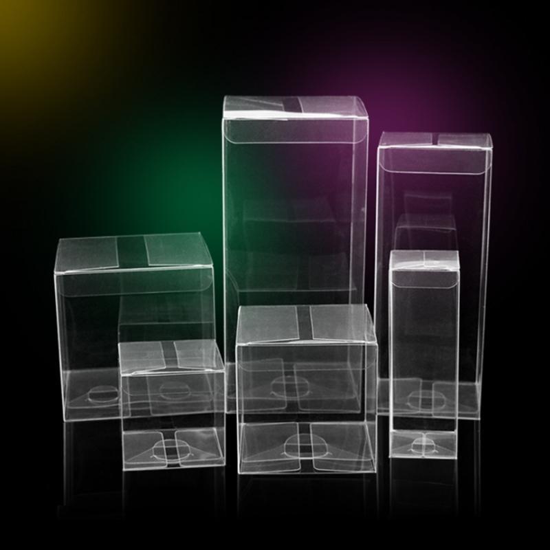 100pcs / lot Transparent Square Regalo Caja de caramelo Caja clara PVC Caja de chocolate Regalo de envasado de Navidad para la decoración del favor del partido de boda