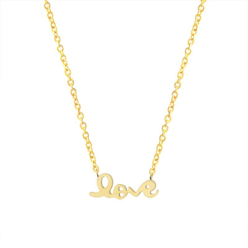 Romantic Love Letter Necklace Women Gold Color Erkek Kolye Choker Chain Stainless Steel Necklace Pendant Valentine Day Gift