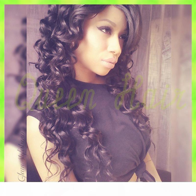 Livraison Gratuite 7A Perruques de cheveux de la dentelle pleine dentelle brésilienne, perruques de cheveux humains pleine dentelle sans gluge pour femmes noires 100% perruques de cheveux humains
