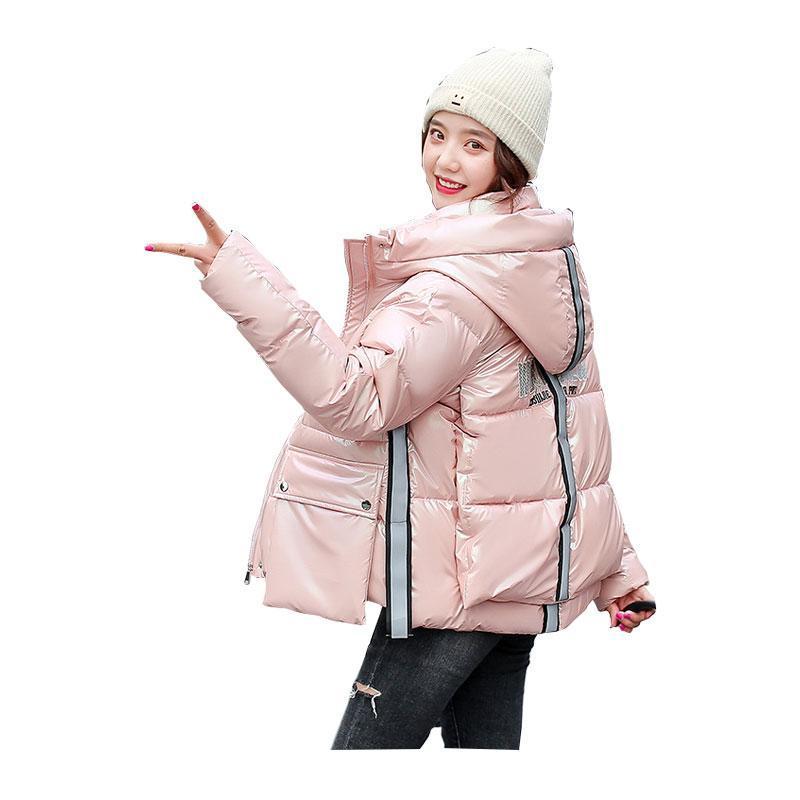 여성 짧은 겨울 자켓 광택 스탠드 칼라 후드 바이오 다운 재킷 대형 코튼 패딩 파카 카 카도 여성 Feminino Abrigos Mujer