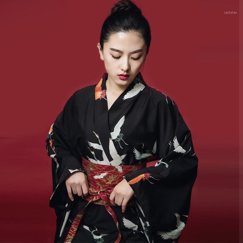 Mujeres japonés estilo kimono yukata japonés kimono traje tradicional vestido mujer cosplay señoras yukata con obi1