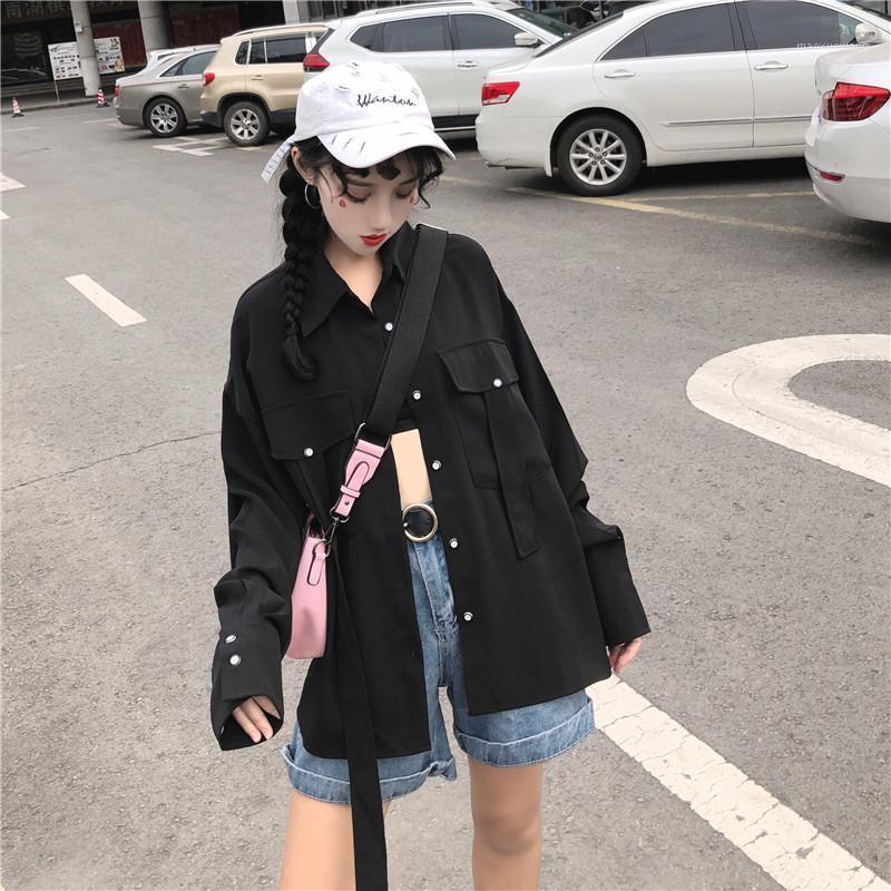 2019 primavera nueva mujer negro ocasional suelta salvaje camisa de manga larga femenina estudiantes cardigan abrigo diseño sentido pequeño otoño B1681