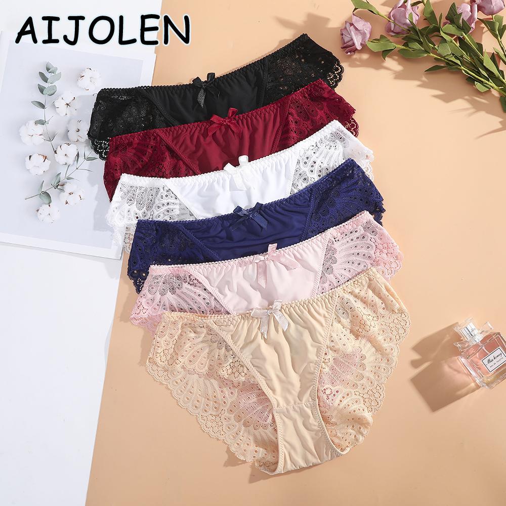 Aijolen Cinturón de cintura baja de Aijolen Color Sólido Señoras Flower Bragas Pantías de algodón Cerrar ropa interior