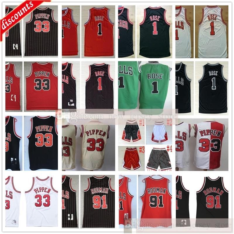 Ретро баскетбол 33 Scottie 91 Dennis Pippen Rodman Jerseys дешевый Derrick Black 1 розовые трикотажные изделия Черная красная полоса белые шорты