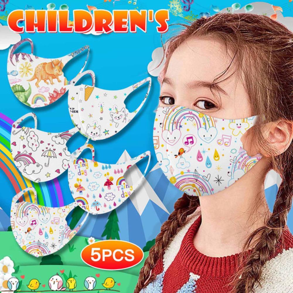 İpek Buz Bezi 5 Adet Gökkuşağı Çocuk Maskeleri Karışık Maske Baskı Masquelavablehomme Cadılar Bayramı Cosplay Yüz Maskesi Mascarillasw16e