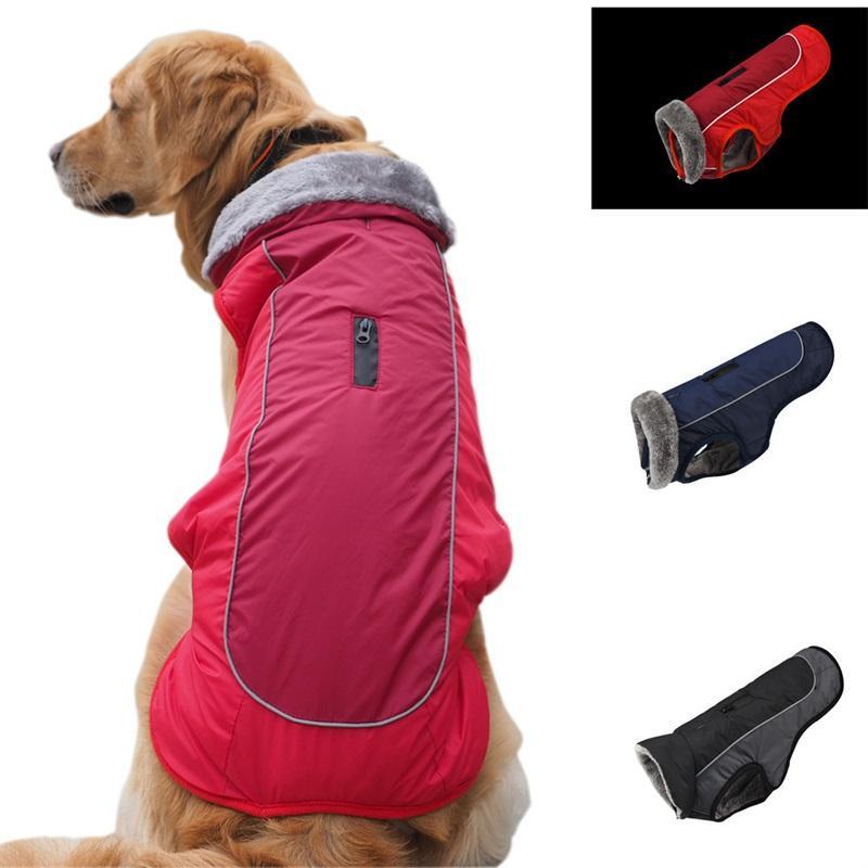 Abbigliamento per cani per colletto di pelliccia Autunno Inverno Riflesso Impermeabile Cani in cotone imbottito Abbigliamento Abbigliamento Forniture Nuovo schema 44BL J2