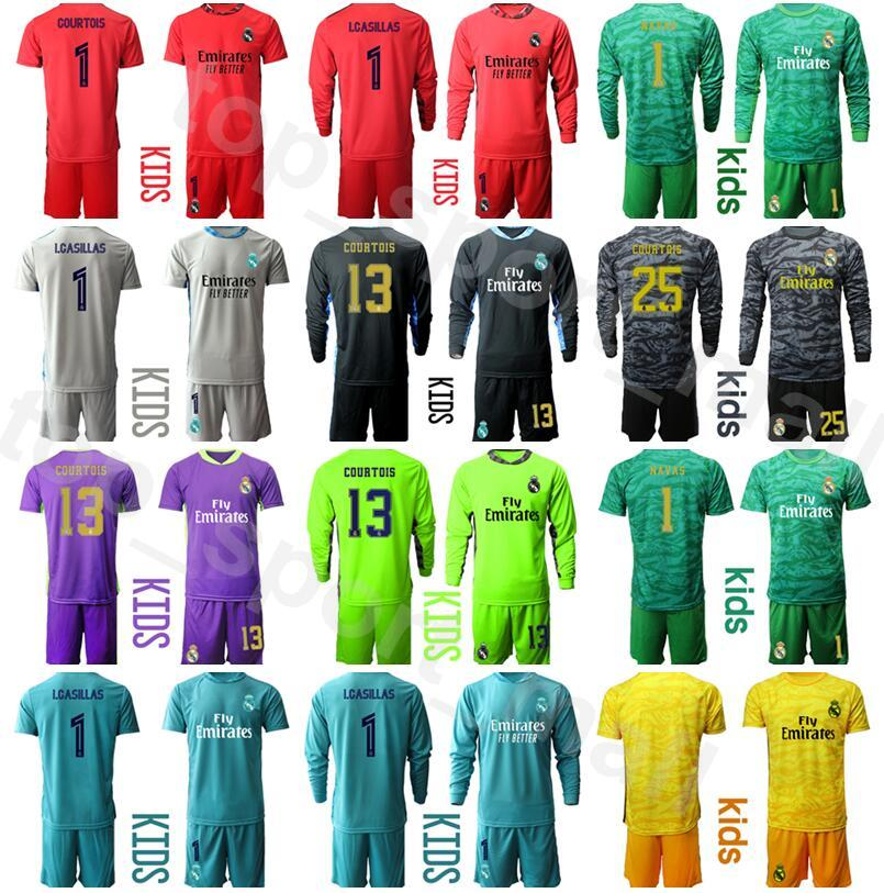 Kits camisa de la juventud portero del Real Madrid manga larga Iker Casillas Jersey conjunto de portero de fútbol Thibaut Courtois Keylor Navas BUYO Fútbol