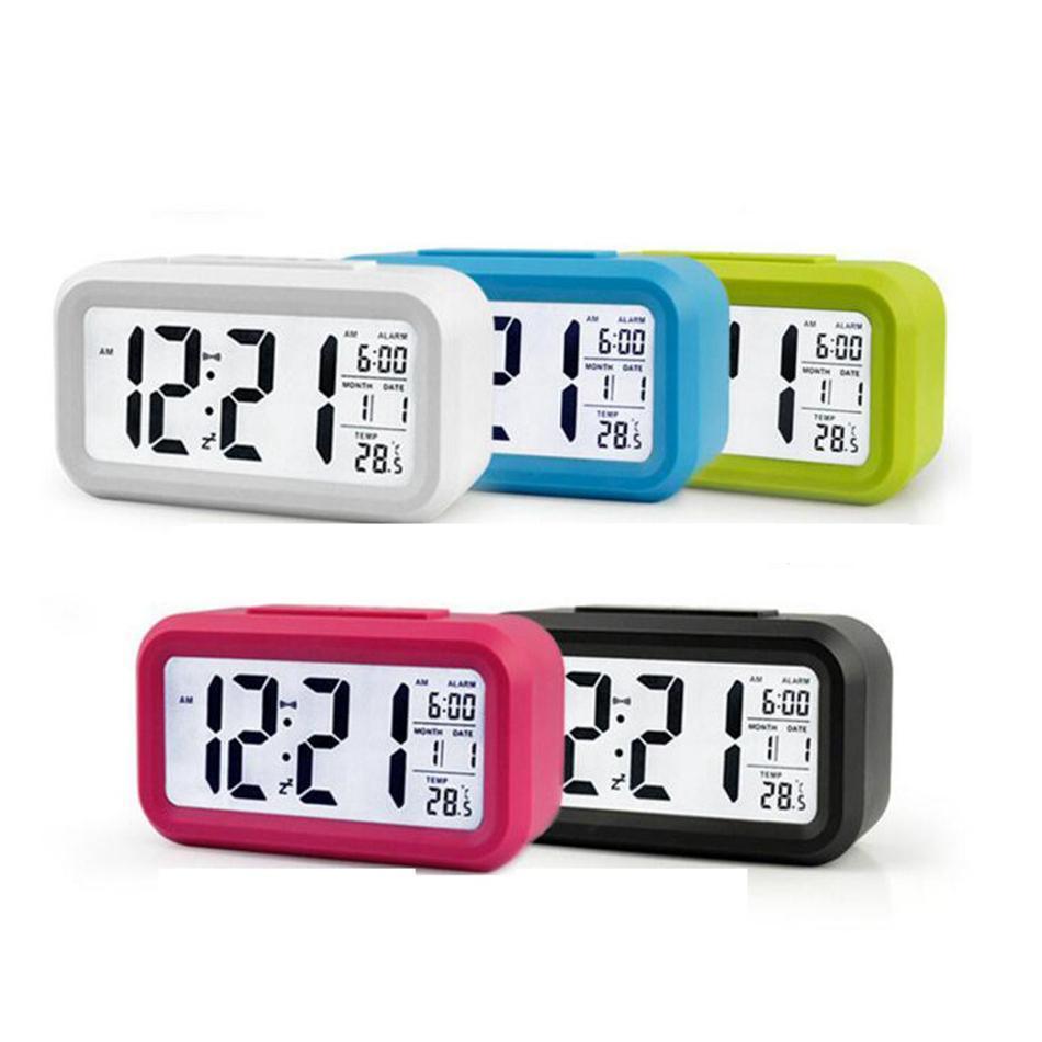 스마트 센서 나이트 라이트 디지털 알람 시계 온도 온도계 달력 자동 책상 테이블 시계 WATC