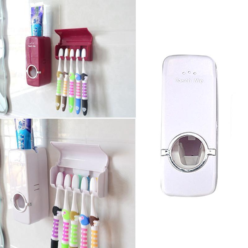 Diş macunu dağıtıcı 5 diş fırçası tutucu set duvar montaj standı diş fırçası aile banyo tekneleri aksesuarları yüksek kalite