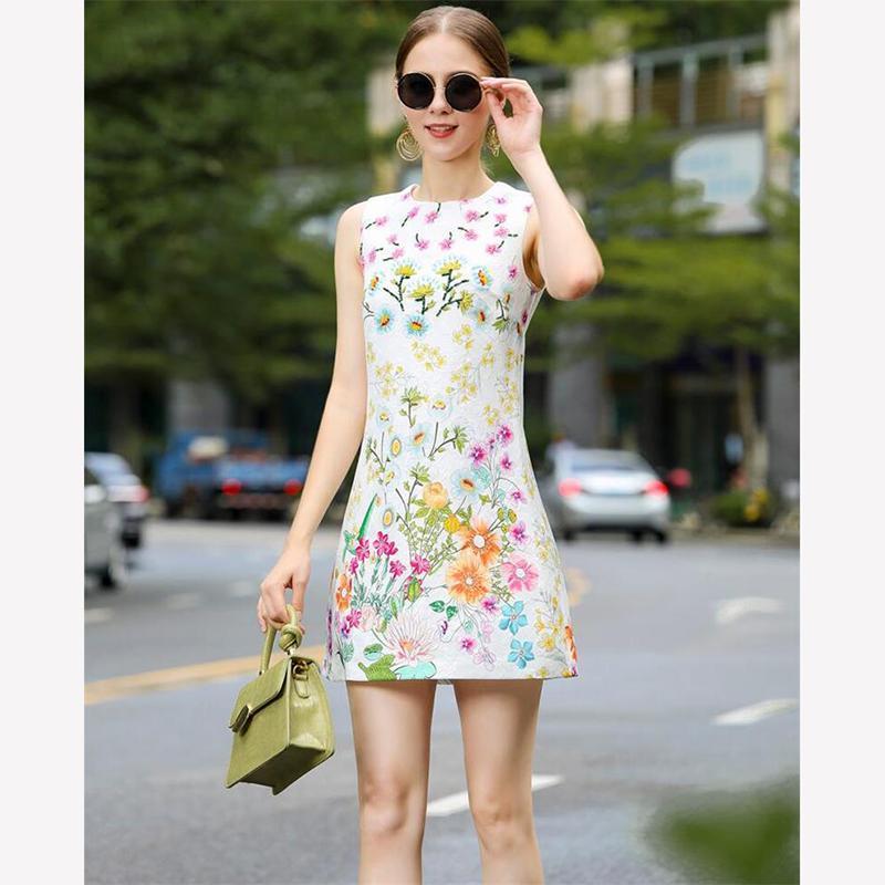 Frauen Kleid 2020 Hohe Qualität Landebahn Oansatz Sleeveless Floral Print Casual Mini Kleider Vestidos NP1248N