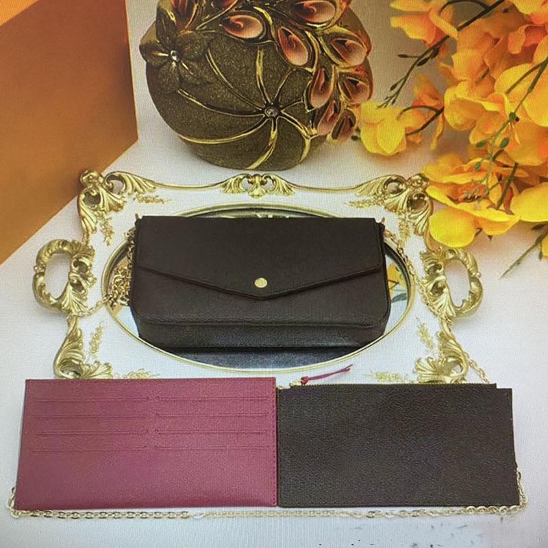 Vintage Pochette Felicie Kette Strap Umhängetaschen 3 Stücke Set Frauen Handtasche Crossbody Mini Brieftaschen Mobile Kartenhalter Geldbörse M61276